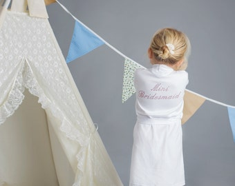 Children's Diamante Bridesmaid dressing gown robe in a cotton material