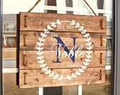 Anniversary Gift for Parents- Personalized Wedding Gift- Front Porch Decorations- Custom Wood Personalized Signs- Rustic Home
