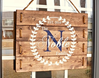 Anniversary Gift for Parents- Personalized Wedding Gift- Front Porch Decorations- Custom Wood Personalized Signs- Rustic Home- PRE-ORDER