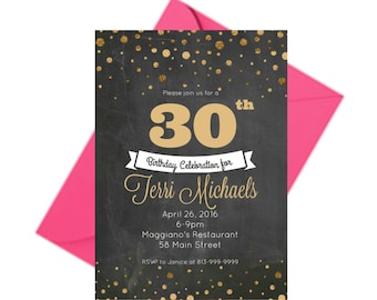 30th Birthday Invite, Personalized 30th Birthday Invitations, Black and Gold Invitations, Thirty Birthday, Chalkboard Invitation, PRINTABLE
