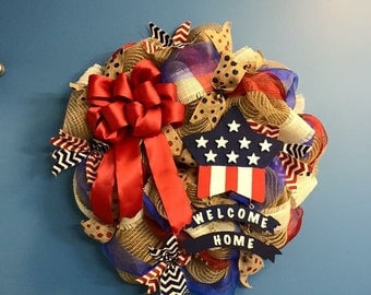 Patriotic decor american decor usa decor 4th of july for Patriotic welcome home decorations