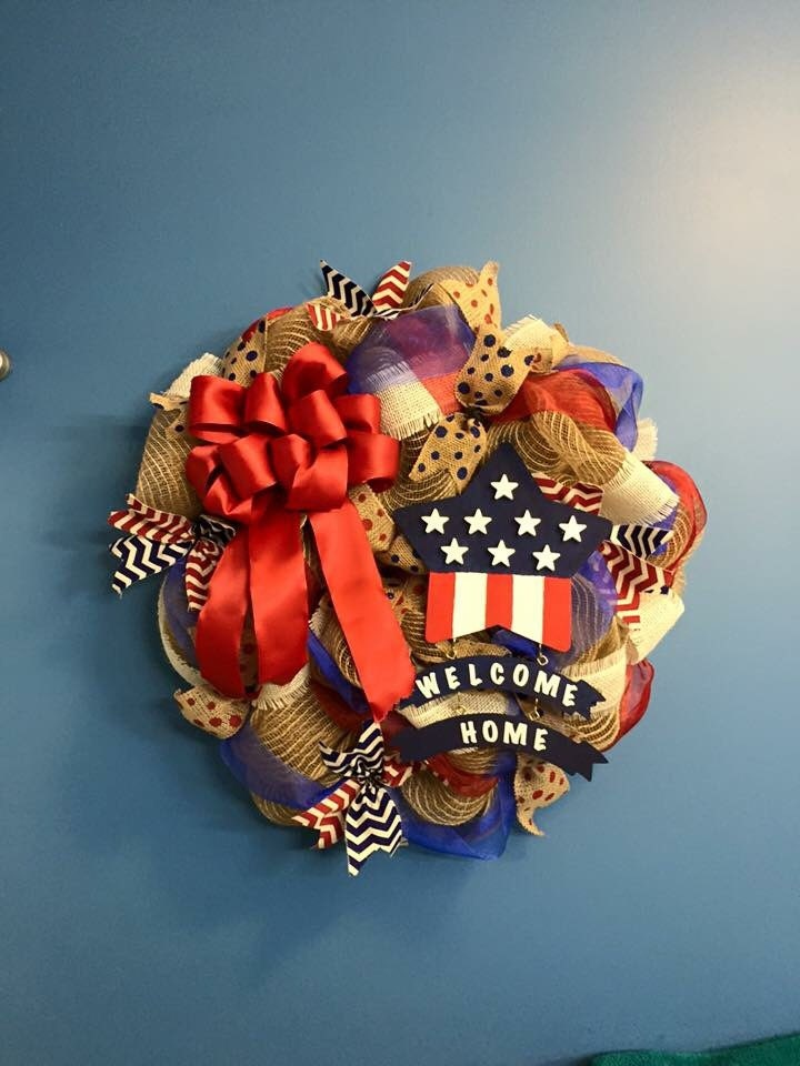 4th of july decor welcome home patriotic wreath memorial day for Patriotic welcome home decorations