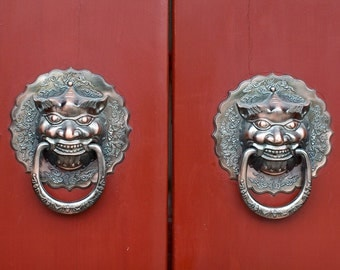 Fine Art Photography, China, China Photography, Fine Art, Color Photography, Travel Photography, Colorful Wall Art, Door handles - Red Doors