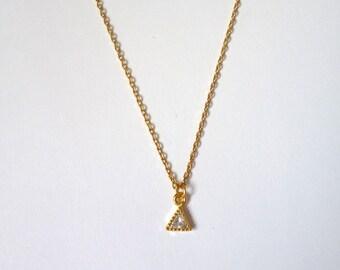 Boho Dainty Gold Triangle Pendant Necklace
