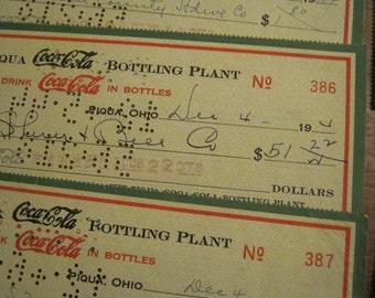 1944 Coca-Cola Bottling Plant Checks, Ephemera, Vintage Checks