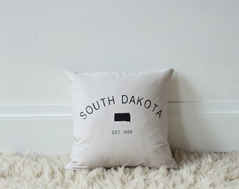 16x16 South Dakota 1889 screen printed throw pillow