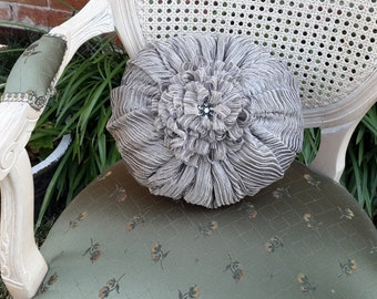 """Elegant Round Gray Pillow - Size - 12"""", Designer Pillows"""