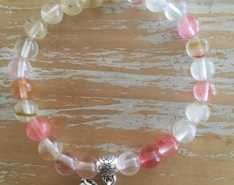 Cherry Quartz bracelet, 6mm beads, made to order, reiki infused