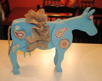 Large Redesigned Funky Wood Cow