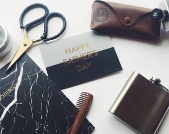 SALE 50%: Father's Day Card, Luxury Stylish Black Grey Gold Foil Letterpress Dad Card