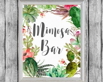Mimosa Bar Printable. Bridal Shower Succulent Decoration. Bridal Shower Mimosa Bar Sign. Printable Bridal Shower Decor. Instant Download.