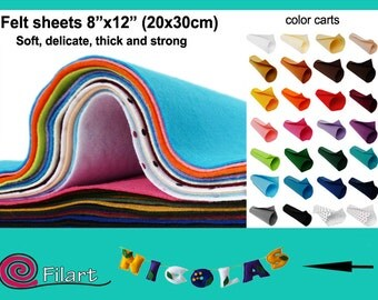 """Felt sheets 1mm, 20x30 cm (8"""" x 12""""), 100% polyester, choose from 28 colors!"""