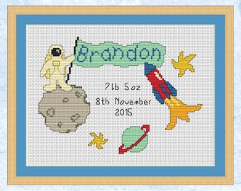 Birth sampler cross stitch pattern, custom cross stitch, personalized space chart, customised baby birth record, christening, astronaut, PDF