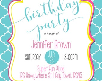 Simple Girly Quatrefoil Invite for Girls & Ladies - Works for Any Age!