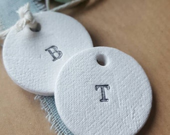 Set Of 10 Letter Gift Tags ~ Personalized Gift Tags ~ Christmas Gift Wrapping Tags ~ Gift Wrapping ~ Clay Ornament ~ Clay Christmas Tags