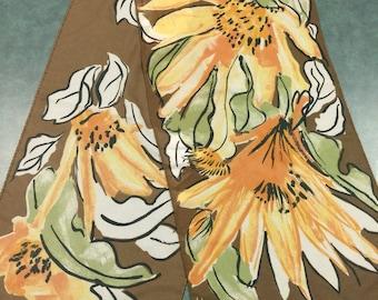 Vintage Vera Scarf. Brown Floral Scarf. Floral Scarf. Long Scarf. Yellow Floral Scarf.