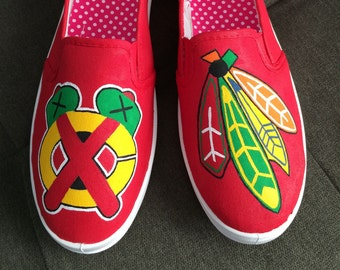 CHICAGO BLACKHAWK SHOES - hand painted