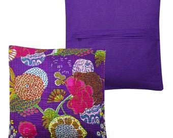 Purple Kantha Pillow Cover Indian Floral Pillow Handmade Throw Pillow 16X16 KCC88