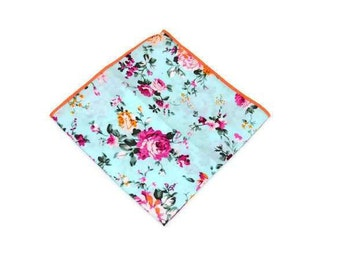 Mint:Teal floral pocket square handkerchief