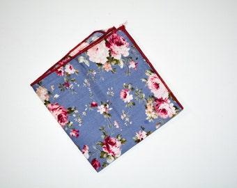 Floral cotton pocket square
