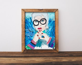 Iris Apfel Watercolor Instant Download / Printable Fashion Icon/ I Like Individuality. Everything Is So Homogenized These Days - Iris Apfel