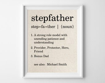 Stepfather Definition Personalized Cotton Print | Bonus Dad | Father's Day Gift for Stepfather from Stepdaughter Stepson | Stepdad gift