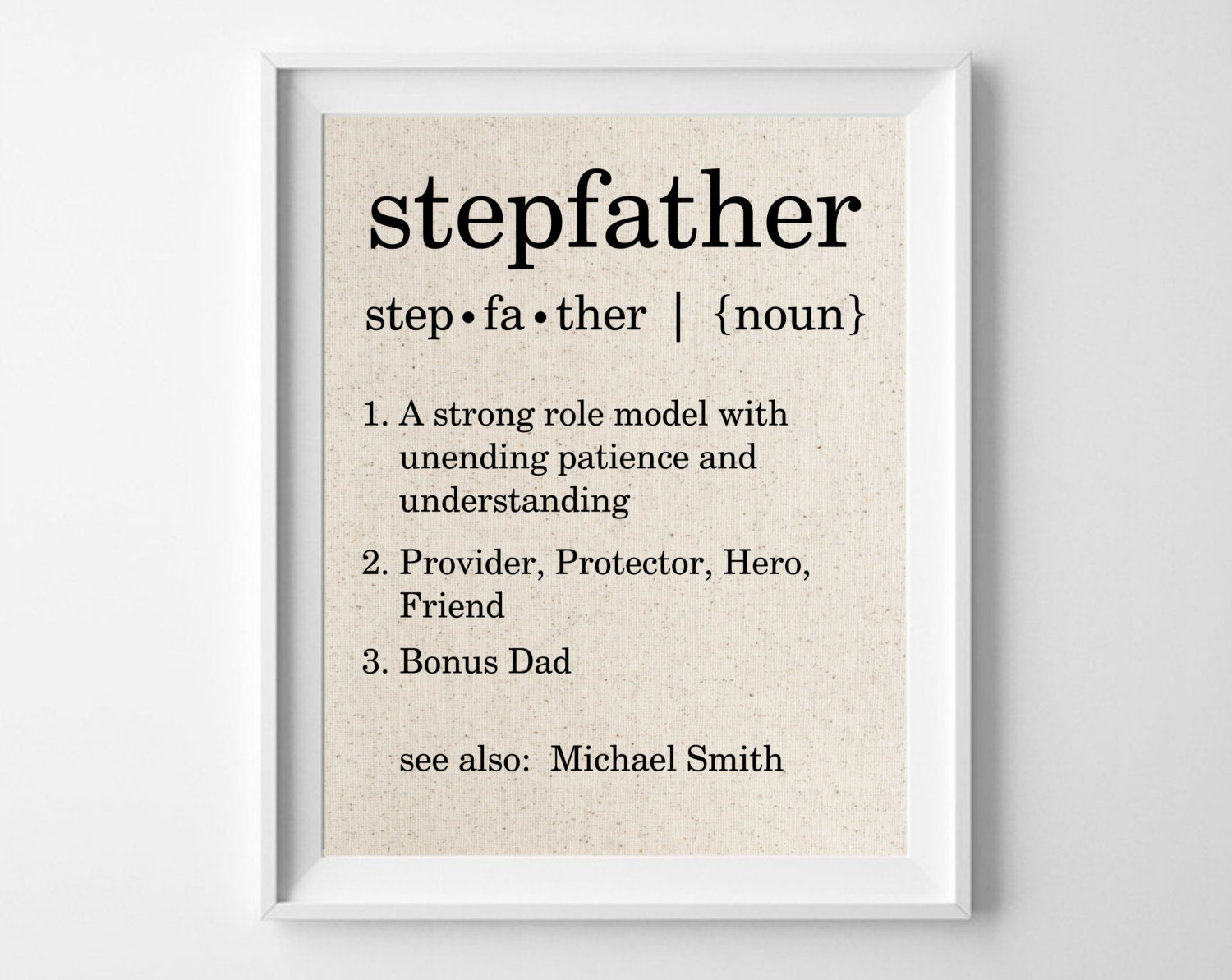 Stepfather Definition Personalized Cotton Print Bonus Dad
