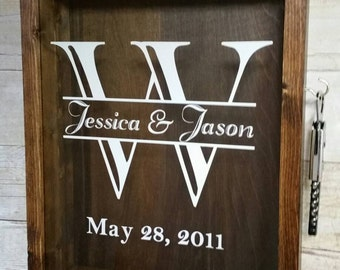 """PERSONALIZABLE LARGE SIZE Wine Cork Holder Shadow Box, With Wine Key On Side- Stained Wood & Glass (12""""x15"""")"""