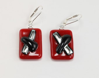 Fused Glass Earrings, Glass Earrings, Red, Black and Silver Earrings