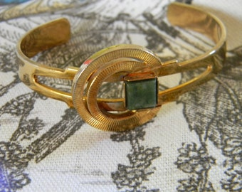 Vintage Bracelet,  Jade Cuff