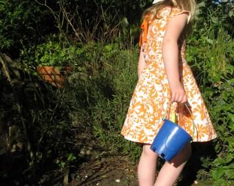 Girls orange dress, girls dress, girls summer dress, girls pinafore, girls cotton dress, girls party dress, girls everyday dress