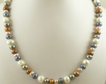 "Freshwater Multi-Color Pearl Necklace With 14K White Gold Fish lock, 20.5"" Long"