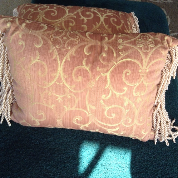 Vintage Elegant New Throw Pillow With Fringe/ Decorative - photo#49