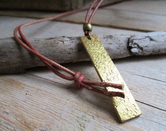 HANDMADE Necklace hammered brass tag pendant on brown leather cord 80 cm long.