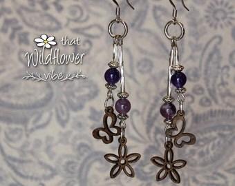 Wood Butterfly Earrings, Wood Daisy Earrings, Wood & Amethyst Earrings, Silver Amethyst Wood Earrings, Amethyst Earrings, Butterfly Amethyst