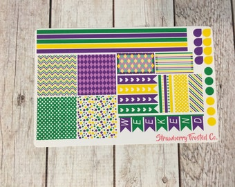 Mardi Gras Themed Planner Stickers- Made to fit Horizontal Layout