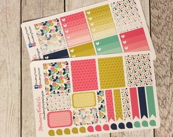 Navy, Pink, Gold Floral Themed Planner Stickers - Made to fit Vertical Layout