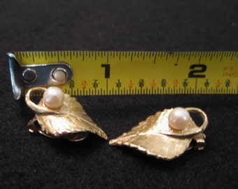 SALE!!! New Lower Price - Ladies 14 Karat Yellow Gold Leaf Design Clip Style Earrings with Pearls