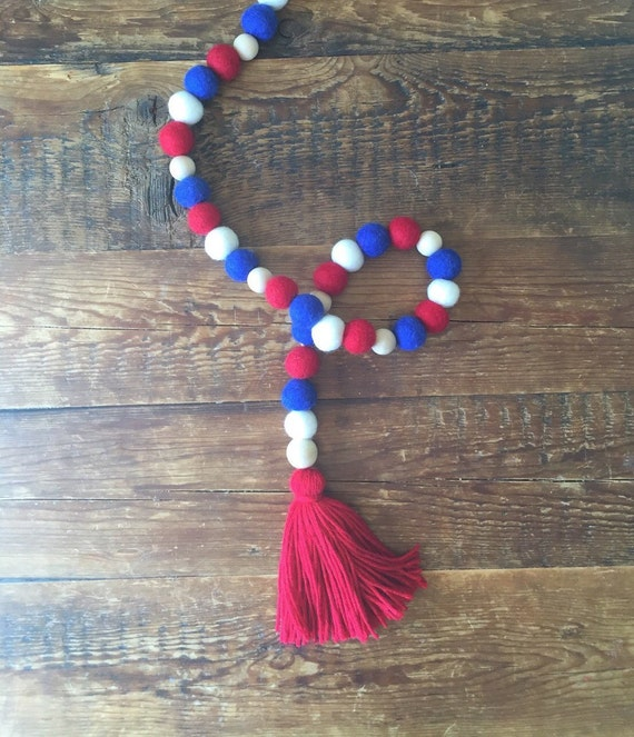 Red White Blue Pom Pom Wool Felt Ball Garland 4th Of July
