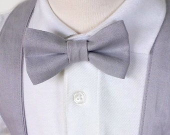 Little Boy's Bow Tie, Grey Linen Bow Tie, Baby Boy Tie, Boys Grey Bow Tie, Toddler Bow Tie, Gray Bow Tie, Pin on Bow Tie