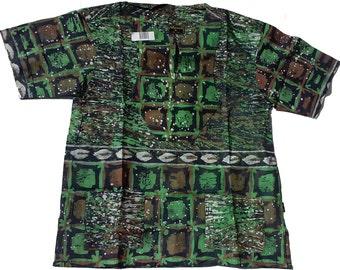 Allswell Mens Batik Shirt, Green, White and Black, XLarge