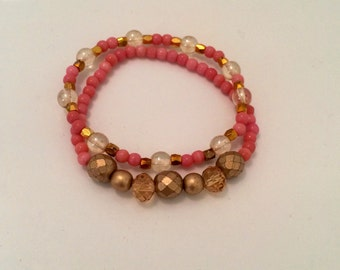 Child sized Pink & Gold bracelet set