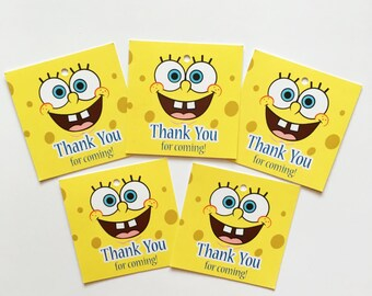 12 Spongebob Square Pants Thank You Birthday Favor Tags