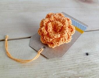 Orange flower brooch. Crochet flower brooch. Crochet pin. Flower Pin.