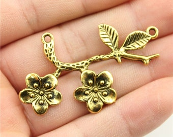2 Flower Branch Charms, Antique Gold Tone Charms (1C-119)