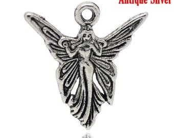 10 Fairy Charms, Antique Silver Tone (1U-109)