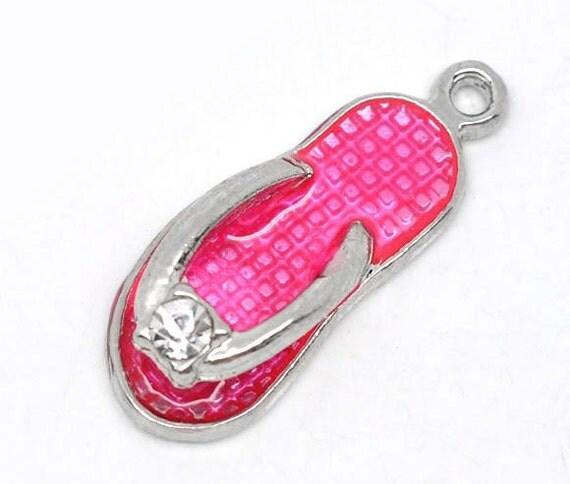 2 Flip Flop Pink Enamel Rhinestone Charms Silver By -6691