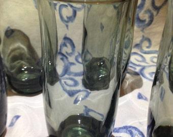 Tall Shot Glasses Smokey Grey Set of 6 Vintage Vintage Barware Tall Shot Glasses Retro Shot Glass