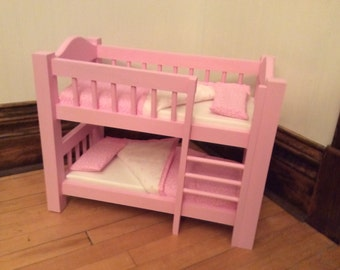 "Wooden Bunk Bed for 18"" Doll - Traditional Design"
