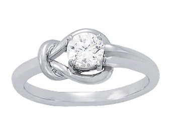 Love Knot Diamond Ring, Love Knot Ring, Know Diamond Ring, Love Diamond Ring. Love Knot Ring in 14k White Gold